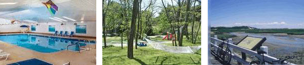 Three pictures together: the pool, the playground, and the bike path