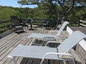 Chairs on the deck of the Ebbtide cottage