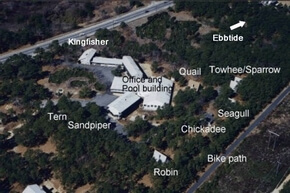 Aerial overview of the Even'tide Motel property showing location of each cottage